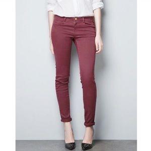 Zara skinny jeans cranberry color size 6